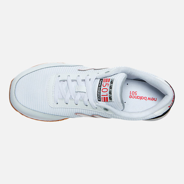 Top view of Men's New Balance 501 Gum Ripple Casual Shoes in White/Black/Gum
