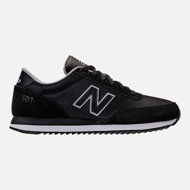 Right view of Men's New Balance 501 Casual Shoes in Black/Silver Mink