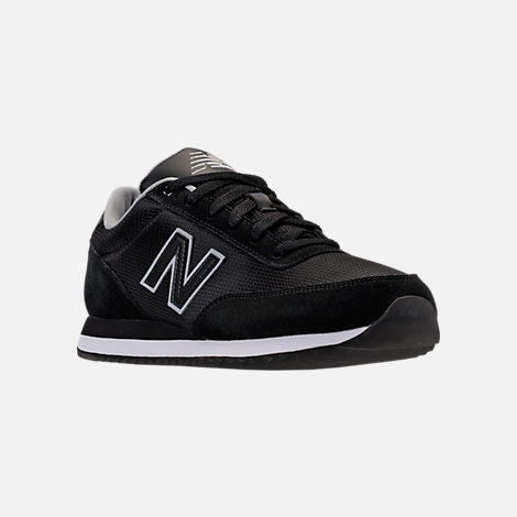 Three Quarter view of Men's New Balance 501 Casual Shoes in Black/Silver Mink