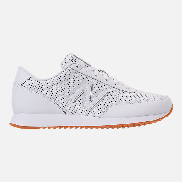 Right view of Men's New Balance 501 Leather Casual Shoes in White/Gum
