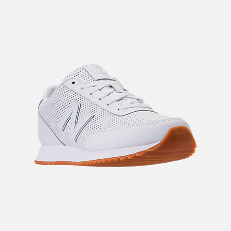 Three Quarter view of Men's New Balance 501 Leather Casual Shoes in White/Gum
