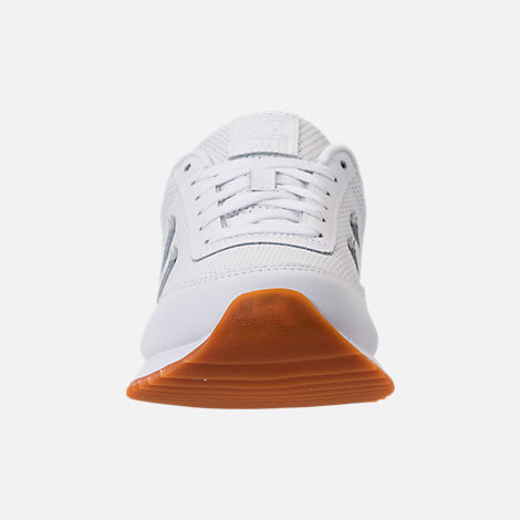 Front view of Men's New Balance 501 Leather Casual Shoes in White/Gum