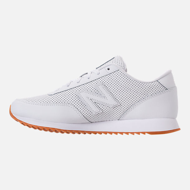 Left view of Men's New Balance 501 Leather Casual Shoes in White/Gum