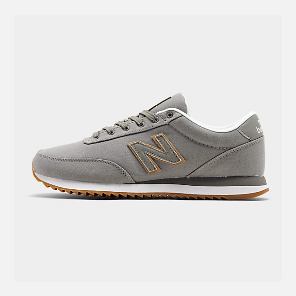 Right view of Men's New Balance 501 Canvas Gum Casual Shoes in Grey/White