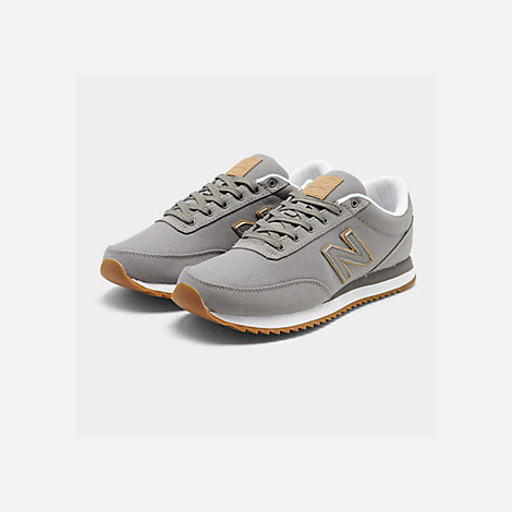 Three Quarter view of Men's New Balance 501 Canvas Gum Casual Shoes in Grey/White