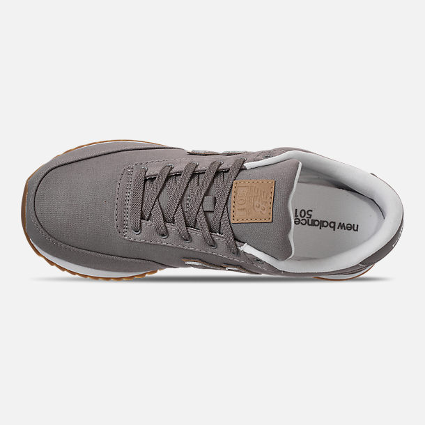 Top view of Men's New Balance 501 Canvas Gum Casual Shoes in Grey/White