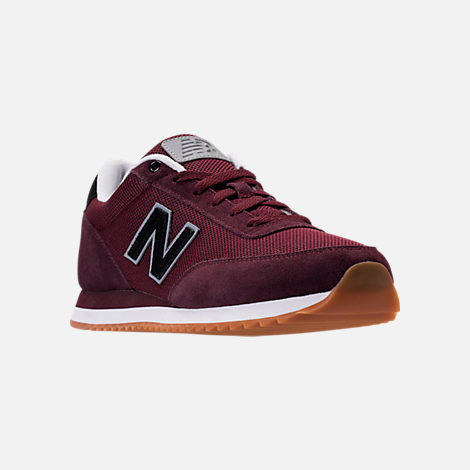 Three Quarter view of Men's New Balance 501 Casual Shoes in Chocolate Cherry