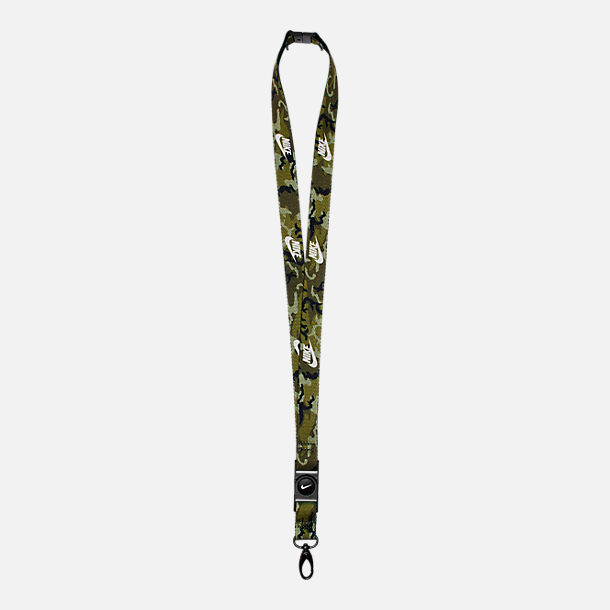 Front view of Unisex Nike Lanyard in Olive Flak/White