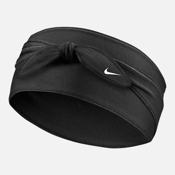 Front view of Nike Dri-FIT Bandana Head Tie in Black/White