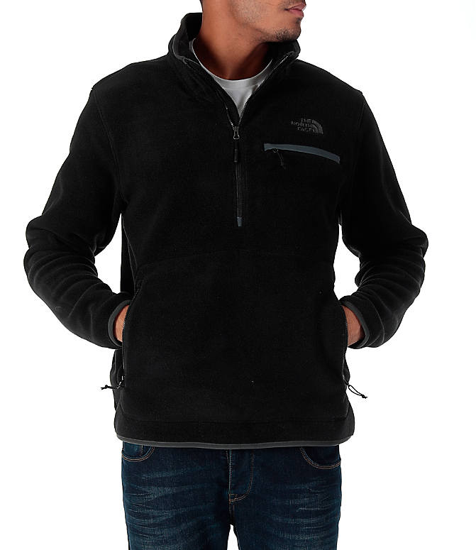Front view of Men's The North Face Tolmiepeak Half-Zip Pullover in TNF Black