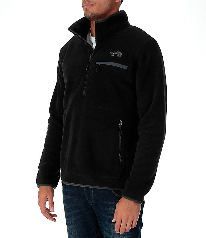 Front Three Quarter view of Men's The North Face Tolmiepeak Half-Zip Pullover in TNF Black