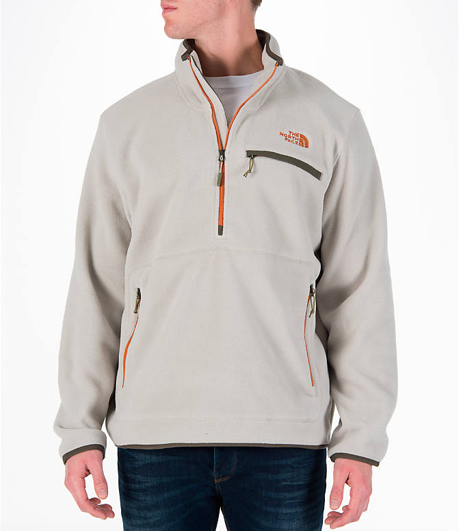Front view of Men's The North Face Tolmiepeak Half-Zip Pullover in Granite Bluff Tan
