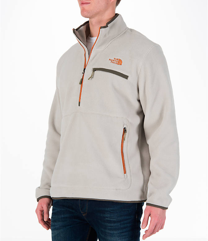 Front Three Quarter view of Men's The North Face Tolmiepeak Half-Zip Pullover in Granite Bluff Tan