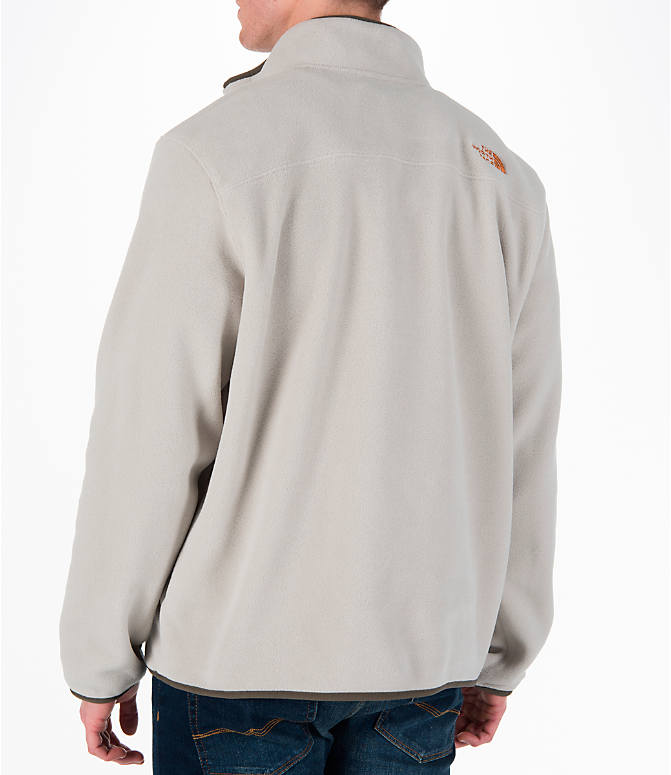 Back Left view of Men's The North Face Tolmiepeak Half-Zip Pullover in Granite Bluff Tan