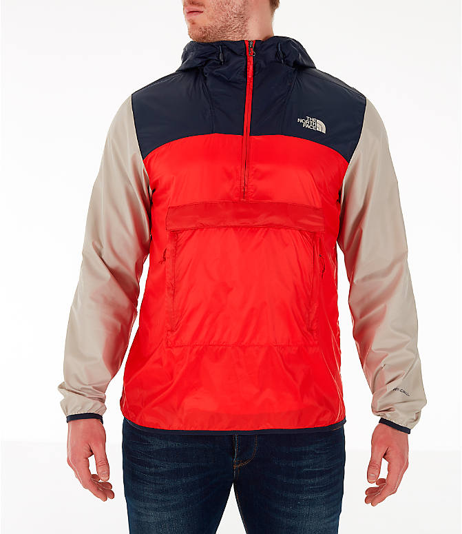 Front view of Men's The North Face Fanorak Half-Zip Jacket in Fiery Red/Urban Navy/Peyote Beige