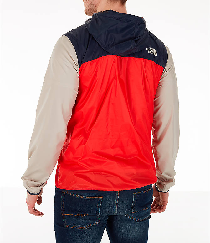 Back Left view of Men's The North Face Fanorak Half-Zip Jacket in Fiery Red/Urban Navy/Peyote Beige