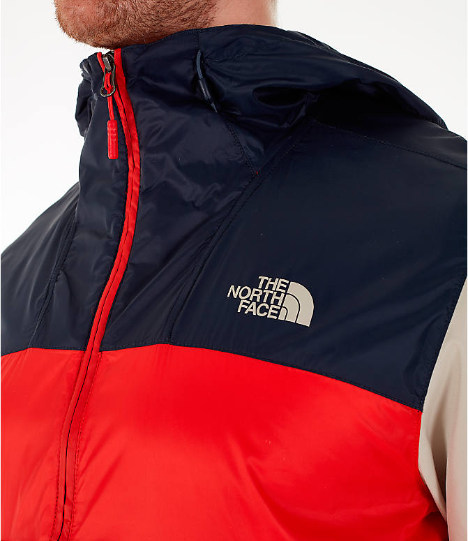 Back Right view of Men's The North Face Fanorak Half-Zip Jacket in Fiery Red/Urban Navy/Peyote Beige