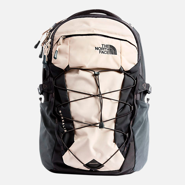 Front view of The North Face Borealis Backpack in Beige/Grey