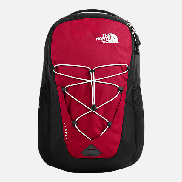 Front view of The North Face Jester Backpack in Red/Black