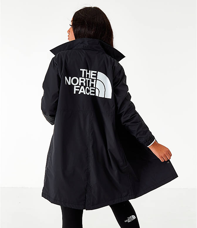 Front view of Women's The North Face Long Coaches Jacket in Black