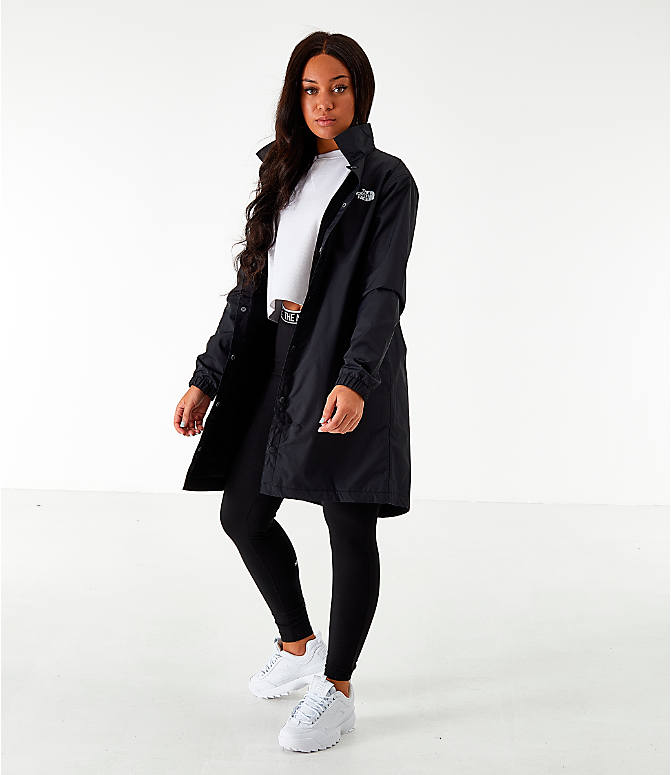 Front Three Quarter view of Women's The North Face Long Coaches Jacket in Black