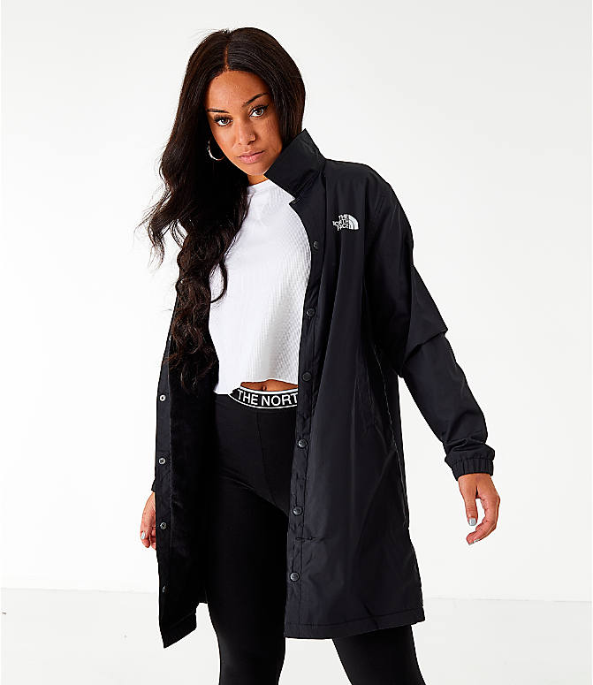 Back Left view of Women's The North Face Long Coaches Jacket in Black