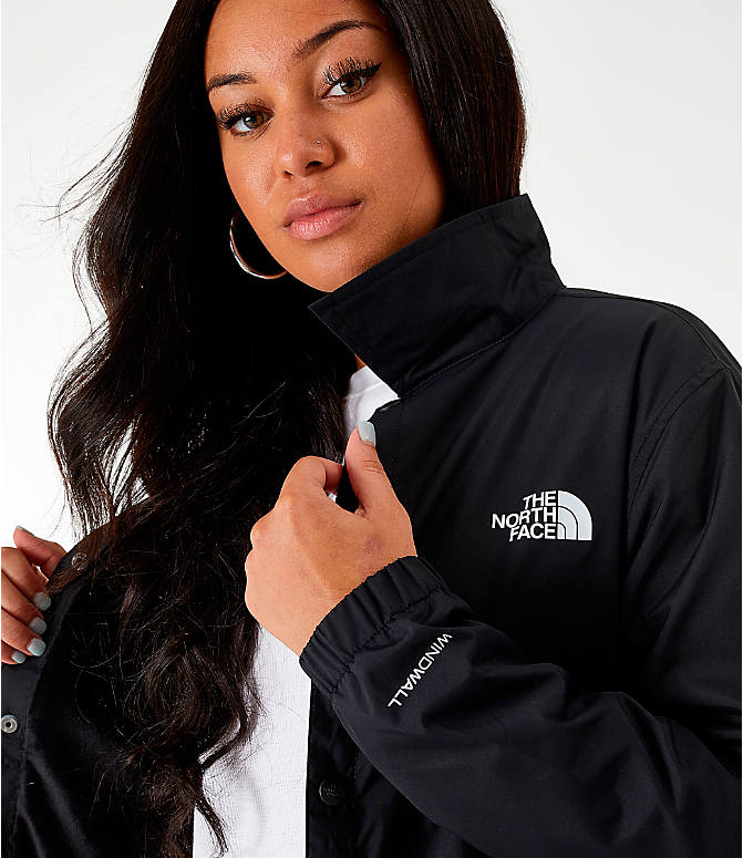 Back Right view of Women's The North Face Long Coaches Jacket in Black