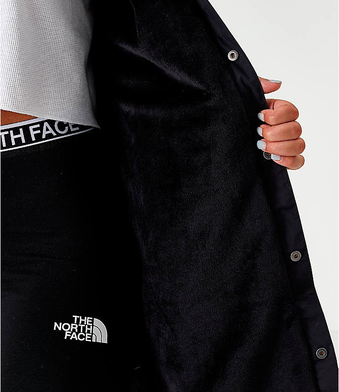 On Model 5 view of Women's The North Face Long Coaches Jacket in Black