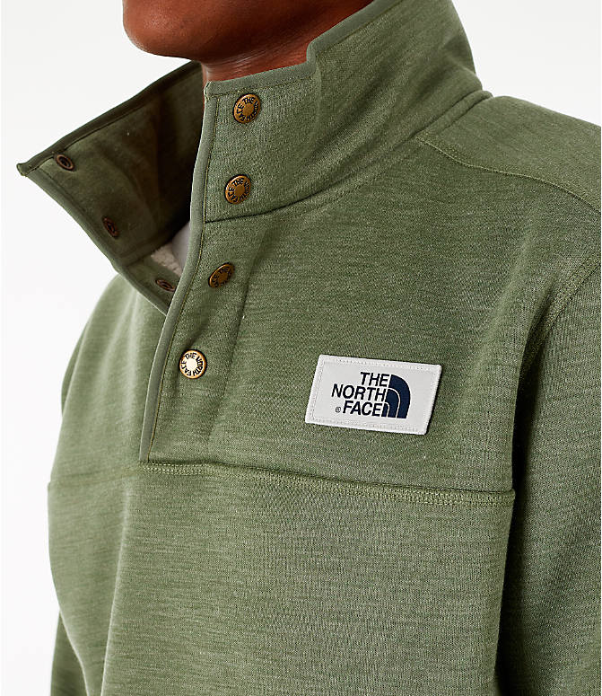 Detail 1 view of Men's The North Face Sherpa Patrol Quarter-Snap Jacket in Four Leaf Clover Heather