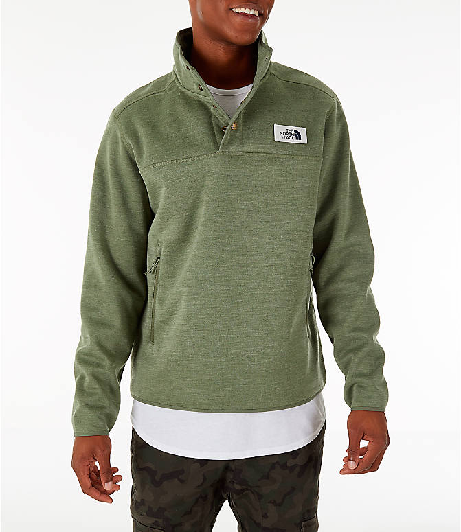 Front view of Men's The North Face Sherpa Patrol Quarter-Snap Jacket in Four Leaf Clover Heather
