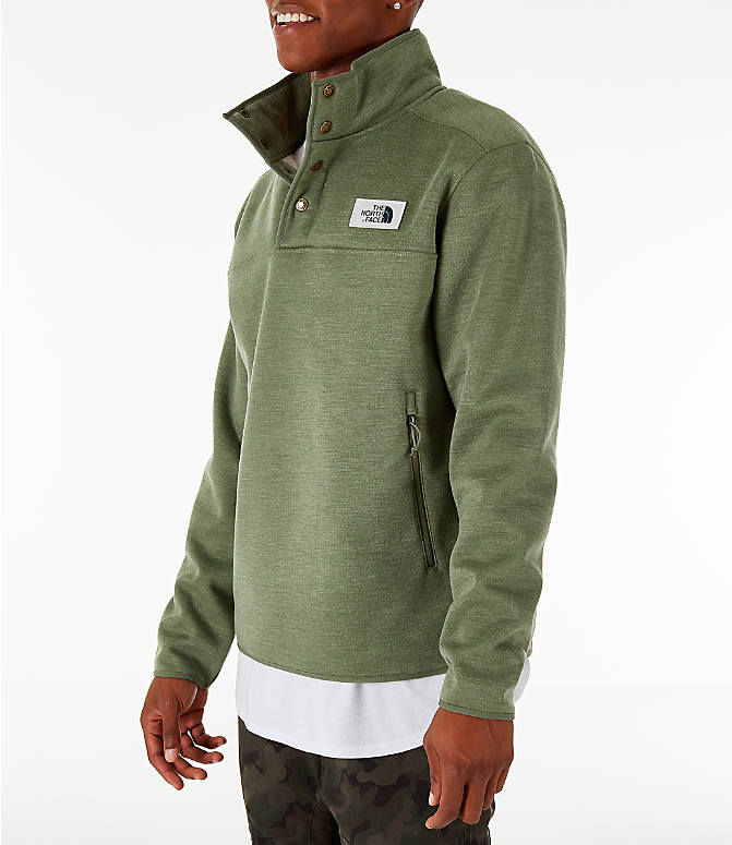 Front Three Quarter view of Men's The North Face Sherpa Patrol Quarter-Snap Jacket in Four Leaf Clover Heather