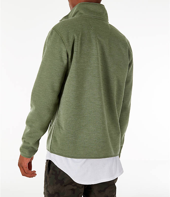 Back Left view of Men's The North Face Sherpa Patrol Quarter-Snap Jacket in Four Leaf Clover Heather