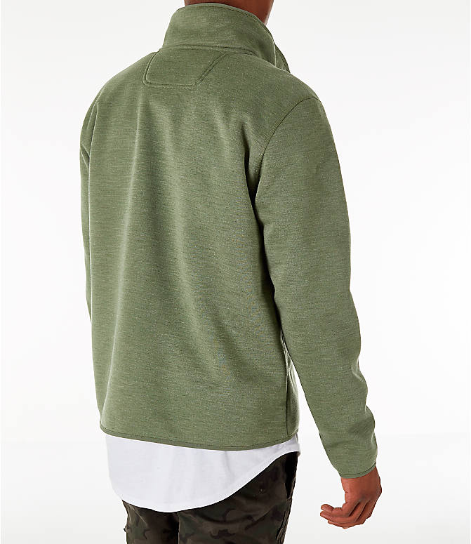 Back Right view of Men's The North Face Sherpa Patrol Quarter-Snap Jacket in Four Leaf Clover Heather