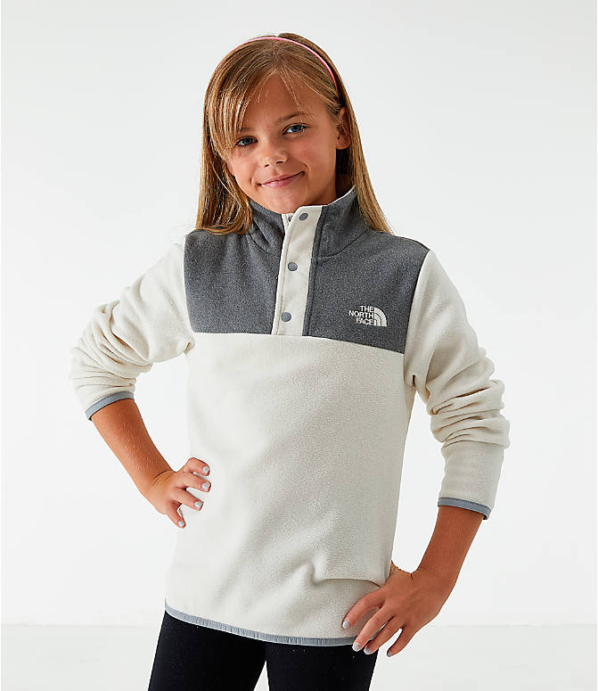 Front view of Girls' The North Face Glacier Half-Snap Sweatshirt in White/Grey