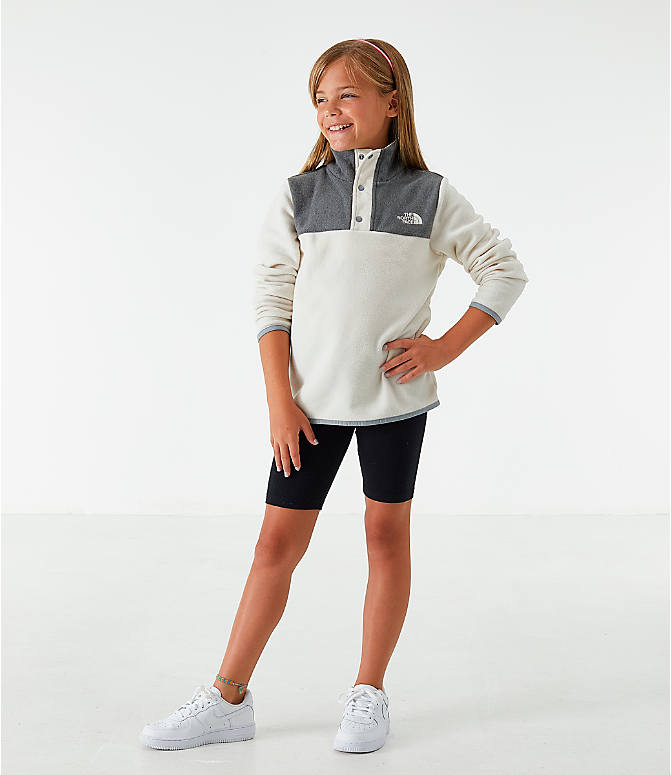 Front Three Quarter view of Girls' The North Face Glacier Half-Snap Sweatshirt in White/Grey