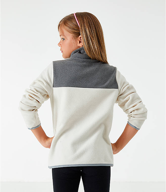 Back Left view of Girls' The North Face Glacier Half-Snap Sweatshirt in White/Grey
