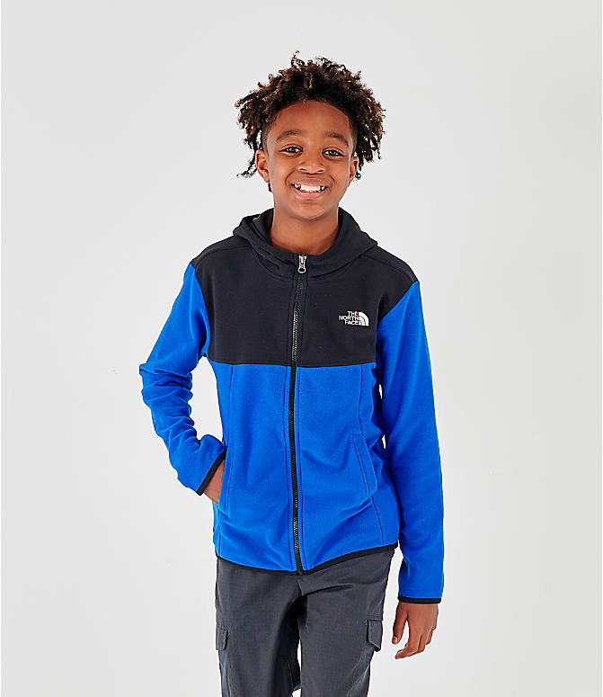 Front view of Kids' The North Face Glacier Full-Zip Hoodie in Black/Blue