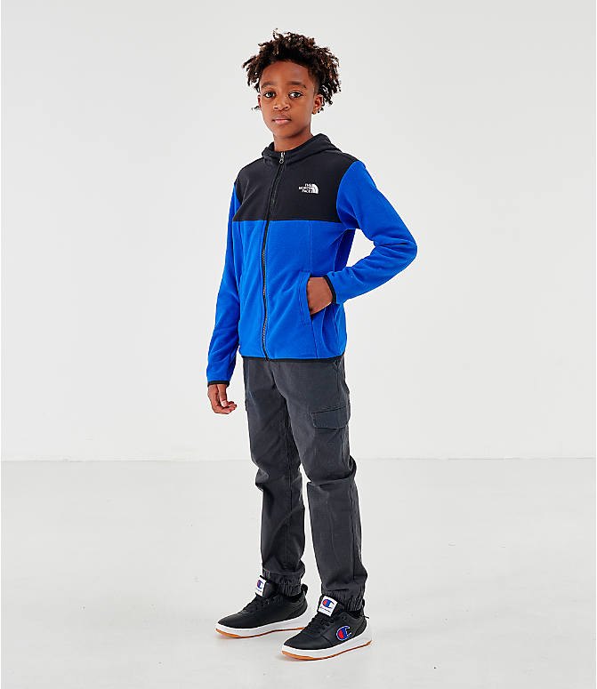 Front Three Quarter view of Kids' The North Face Glacier Full-Zip Hoodie in Black/Blue