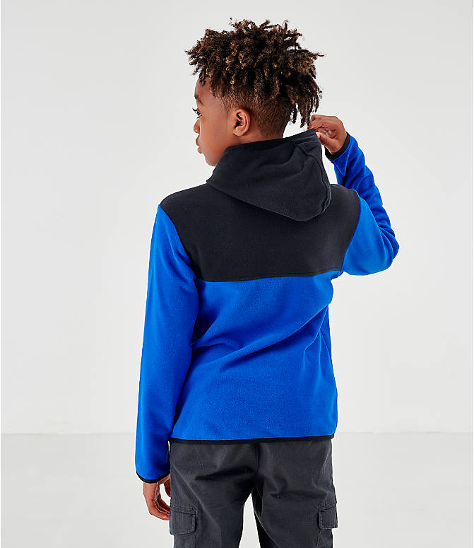 Back Left view of Kids' The North Face Glacier Full-Zip Hoodie in Black/Blue