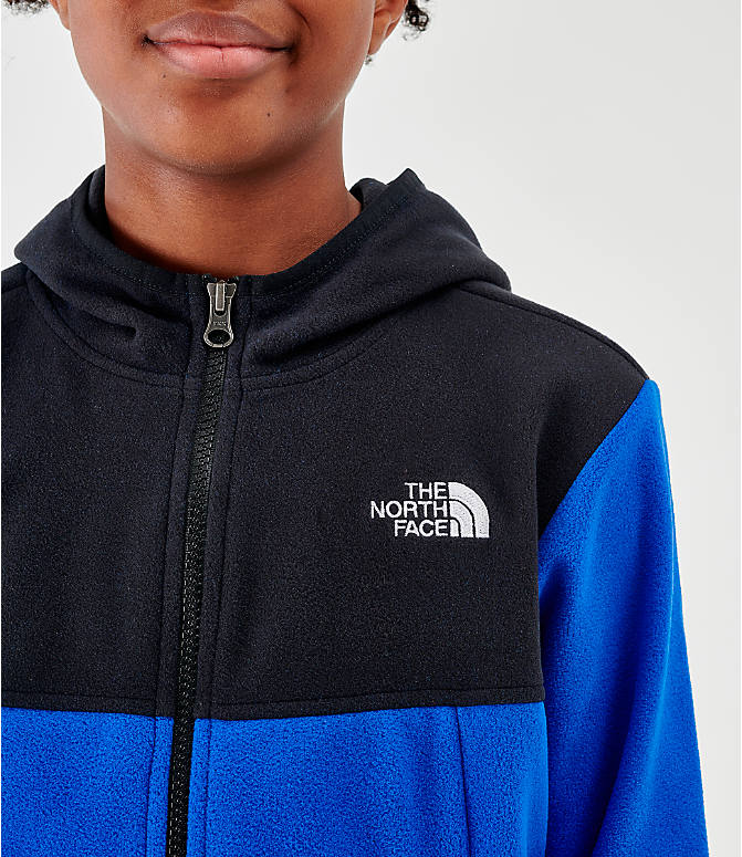 Back Right view of Kids' The North Face Glacier Full-Zip Hoodie in Black/Blue