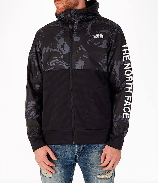 Front view of Men's The North Face Train N Logo Full-Zip Hoodie in Black Tonal Camo/Black