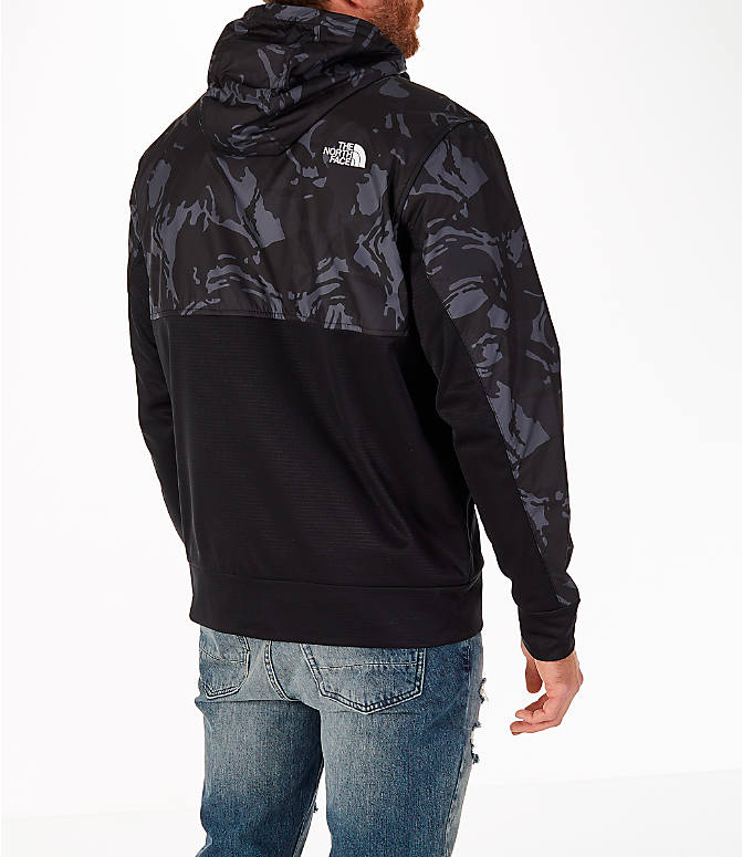 Back Right view of Men's The North Face Train N Logo Full-Zip Hoodie in Black Tonal Camo/Black