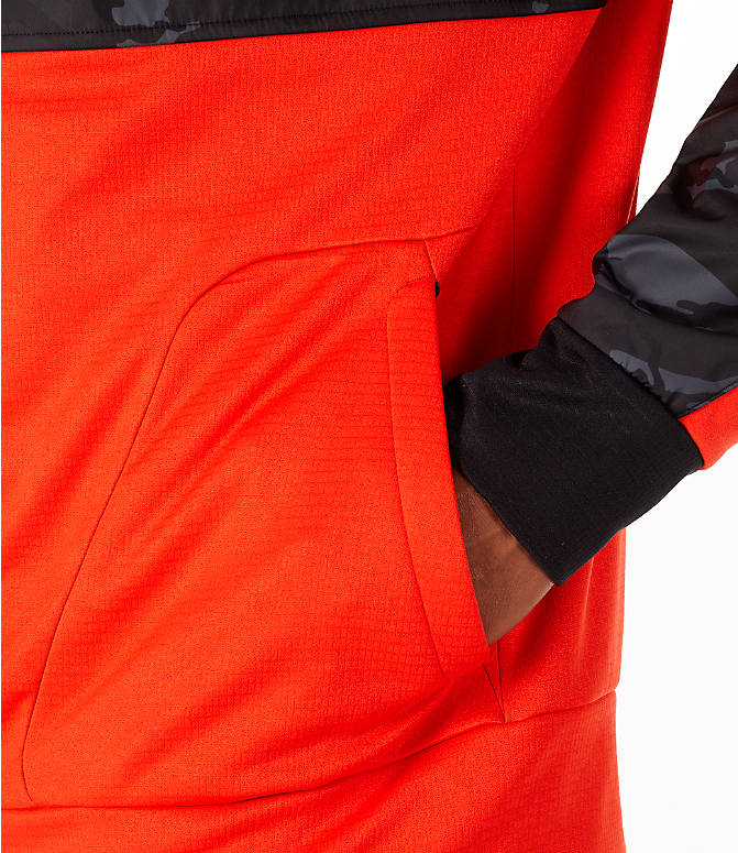 Detail 2 view of Men's The North Face Train N Logo Full-Zip Hoodie in Orange/Black