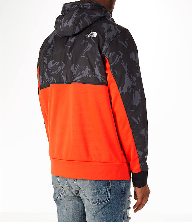 Back Right view of Men's The North Face Train N Logo Full-Zip Hoodie in Orange/Black