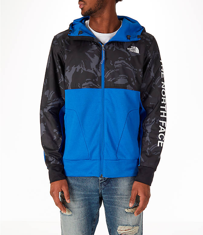 Front view of Men's The North Face Train N Logo Full-Zip Hoodie in Blue/Black