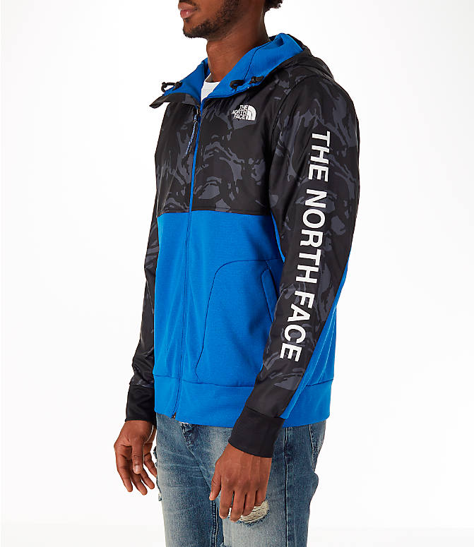 Front Three Quarter view of Men's The North Face Train N Logo Full-Zip Hoodie in Blue/Black