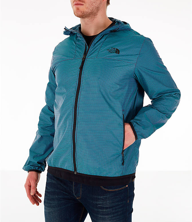 Front Three Quarter view of Men's The North Face Novelty Cyclone Hooded Jacket in Iridescent
