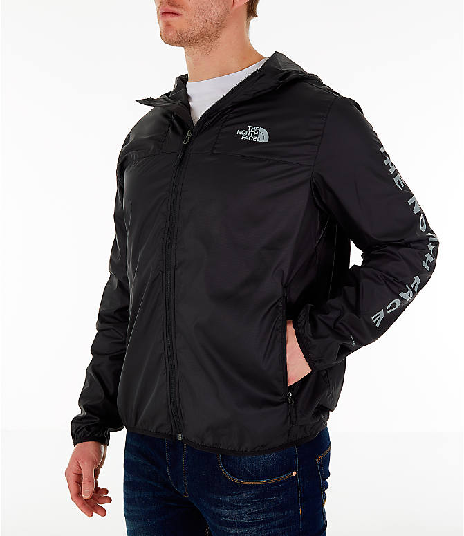 Front Three Quarter view of Men's The North Face Novelty Cyclone Hooded Jacket in Black
