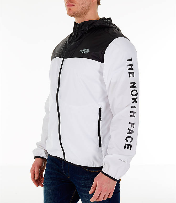 Front view of Men's The North Face Novelty Cyclone Hooded Jacket in White/Black