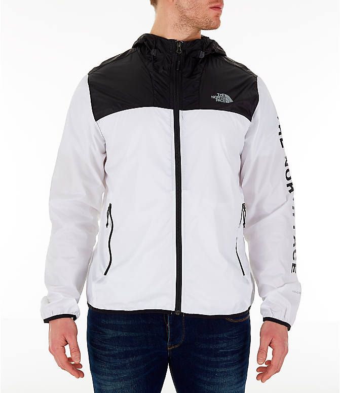 Front Three Quarter view of Men's The North Face Novelty Cyclone Hooded Jacket in White/Black